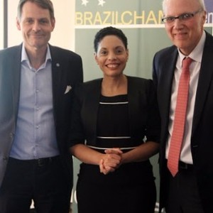 From the left: 1. Mr. Peter Reinebo, CEO for the Swedish Olympic Committee. 2. Elisa Sohlman, Executive Director (Brazilcham) . 3. HE Mr. Marcos Pinta Gama, Ambassador of Brazil.