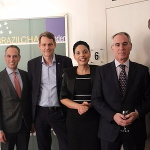 From the left: 1 HE Mr. Marcos Pinta Gama, Ambassador of Brazil. 2. H.E.Santiago Wins - Ambassador of Uruguay 3 Mr. Peter Reinebo, CEO for the Swedish Olympic Committee. 4. Elisa Solhlman - Executive Director (Brazilcham)  5 H.E José Pereira Gomes - Ambas