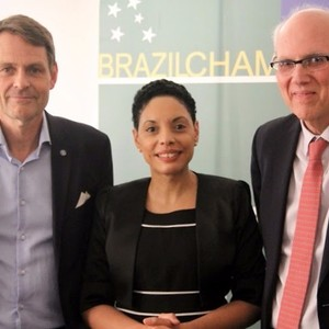 From the left: 1 Mr. Peter Reinebo, CEO for the Swedish Olympic Committee. 2. Elisa Solhlman - Executive Director (Brazilcham)  3 HE Mr. Marcos Pinta Gama, Ambassador of Brazil.